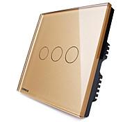 Livolo uk interruptor táctil estándar, el panel de cristal de oro de lujo, 3 gang2way, 110-250VAC