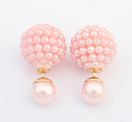 European Style Wild Sweet Lucky Ball Before and After Can Wear Earrings