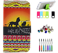 The Lion Pattern Full Body Case with Stylus ,Anti-Dust Plug and Stand for Nokia Lumia 530
