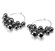 Earring Hoop Earrings Jewelry Party / Daily / Casual Alloy Black / Silver