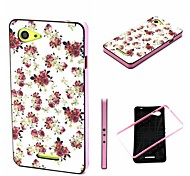 2-in-1 Small Peony Rose Pattern TPU Back Cover with PC Bumper Shockproof Soft Case for Xperia E3