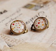 Lovely Hand Draw The Stars Clip Earrings