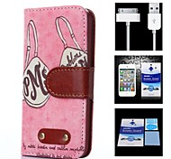 Brassiere Pattern Full Body Case+1 HD Screen Protector+1 USB Data Transmit and Charging Cable for iPhone 4/4S