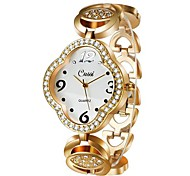 Women's Square Golden Diamond Dial Alloy Analog Quartz Bracelet Watch(Assorted Color) Cool Watches Unique Watches