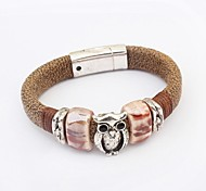 Women's Cute Owl Beads Genuine Leather Wrist Chain Bracelets