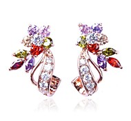 Multicolor Studs Earrings With 10KT Rose / White Gold For Women Gift Box Wholesale Retail