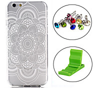 White Snow Flower Pattern TPU Soft Cover Case with Anti-dust Plug and Stand for iPhone 6