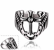 Maya Individual Crucifix Stainless Steel Man Ring(Black)(1Pcs)