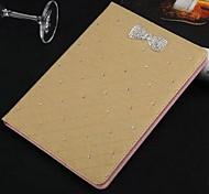 Casos Folio ( Cuero PU , Oro ) - de Patrón de Cuadrícula para Manzana iPad Air 2