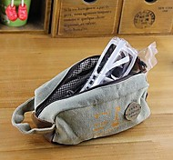Reminiscence Style Classic Canvas Pencil Bag Random Color