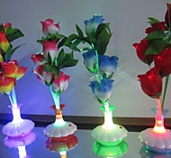 Colour Rose Vase Optical Fiber Flowers LED Night Light