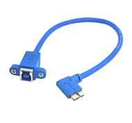 USB 3.0 Type B Female to Micro B Male 10pin 90 Degree Cable With Panel Mount Screw Holes 20cm