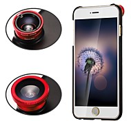 Apexel 3 in 1 Screw-in Wide Angle Lens /Macro Lens/180 Fish Eye Lens with Back Case for iPhone 6 Plus (Assorted Colors)