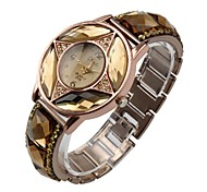 Women's Bracelet Watch Quartz Analog Sparkle Four Stars Pattern with Diamond Rose Gold