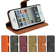 Genuine Matte Cowhide PU Leather Flip Cover Wallet Card Slot Case with Stand for iPhone 5/5S(Assorted Colors)