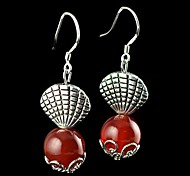 Beautiful National Style Natural Agate Earrings (Red Black)1 Pair