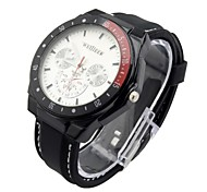 Men's Sport Watch Quartz Analog Water Resistant Silicone Watches Three Sub-Dials