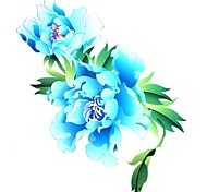 1PC Yimei Tattoo Stickers Large Size/Waterproof Flower Series Women/Girl/Men/Adult/Boy/Teen Blue  Flower Pattern 26*20cm