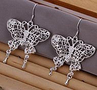 Simple Butterfly Shape Silver Plated Earring(Silver)(1Pair)