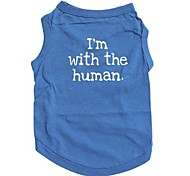 "Cotton Blue Vest Printed with ""I'm with the human""for Pets Dogs (Assorted Sizes)"