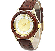 Frauen Holz Fall elegante Gold-Zifferblatt braun Lederband Quarz-Armbanduhr