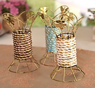 "7.1""L Vintage Rattan Plaited Iron Vase(Random Colors)"
