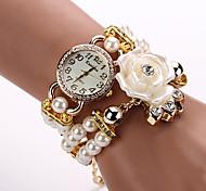 Rose Pearl Flower Wristwatch Luxury Strap Bracelet Watch