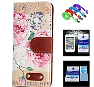 Peony  Pattern Full Body Case+1 HD Screen Protector+1 USB Data Transmit and Charging Cable for iPhone 6