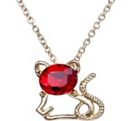 2015 Crystal Fashion Cute Little Kitty Necklace