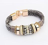 Women's Fashion Leopard Pattern Layers Beads Wrist Chain Bracelets