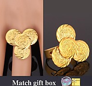 U7® Allah Ring Clover Gold Ring for Women 18K Real Gold Plated Resizable Wedding Ring Fashion Jewelry
