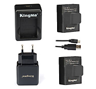 KingMa® 2pcs AHDBT-302 1180mAh 2-Polymer Battery+Dual USB Charger+EU Adapter for Gopro Hero 3+ and AHDBT-201 301-Black