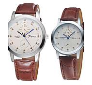 Couple's Lovers' Bracelet Watch Quartz Analog Bohemian PU Leather Cheap Relogio Masculino 2pcs/pair