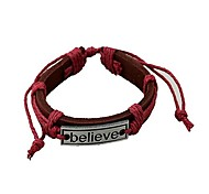 Tina -- Fashion Alloy BELIEVE Leather Bracelet in Daily