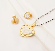 Sweet Heart Shape 316L Stainless Steel CZ Diamonds Inlaid (Necklace&Earrings) Jewelry Set