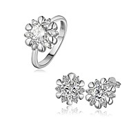 Plated Platinum Fashion Jewelry Sets Earrings Ring