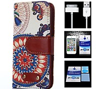 Sunflower Pattern Full Body Case+1 HD Screen Protector+1 USB Data Transmit and Charging Cable for iPhone 4/4S