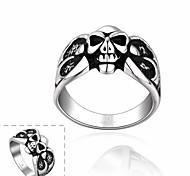 maya individuo moda grandes ojos con el anillo de hombre de acero inoxidable del cráneo del bowknot (negro) (1pcs)