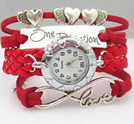 Fashion Handmade Women's Watch Love Heart Letter Infinity Leather Weave Band Cool Watches Unique Watches