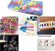 Rainbow Loom Style Kit for DIY Bracelet(600PCS Rubber Bands,1 Package Clips,Loom Board,Hook,Instruction)