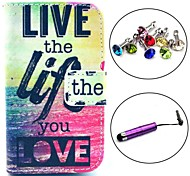 Live Life You Love Pattern PU Leather Case with Stylus and Dust Plug for Samsung Galaxy Fame S6810/S6818