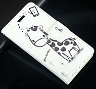 Cartoon Giraffe PU Leather Full Body Wallet Protective Case with Stand and Card Slot For Huawei Ascend G6