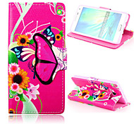 Butterfly Pattern PU Leather Case with Stand for Samsung Galaxy A5