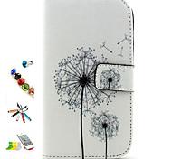 patrón de diente de león de cuero de la PU con lápiz, enchufe anti-polvo y Estuches de cuerpo completo para Samsung Galaxy i9060 grandes