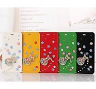 Compatible Solid Color Full Body Cases Genuine Leather Case Decorate by Crystal for iPhone 6 Plus(Assorted Color)
