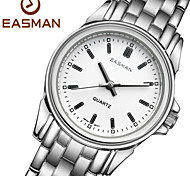 EASMAN Women's Sapphire White Dial Round Shape Silver Stainless Steel Movement Quartz Wristwatch