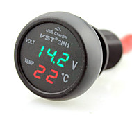 3in1 Car 12V 24V Digital LED Voltmeter & Thermometer & Cigar Lighter USB Charger