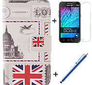 The British Flag Design PU Leather Full Body Case with Film and Capacitance Pen for Samsung Galaxy J1
