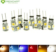 10 stuks SENCART G4 1.5 W 5 SMD 5050 90-120 LM Warm wit / Koel wit / Natuurlijk wit / Rood / Blauw / Geel / Groen T Decoratief SpotjesDC