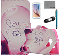 COCO FUN® Love Lamp Pattern PU Leather Case with Film and USB Cable and Stylus for Samsung Galaxy S6